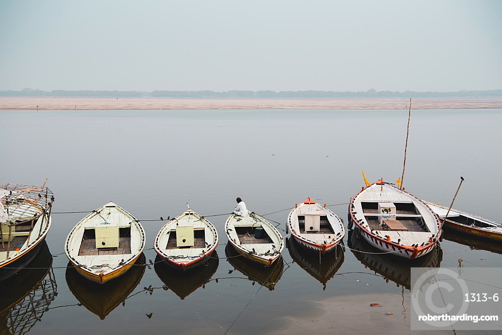 Moored boats line the ghats of the Ganges, Varanasi