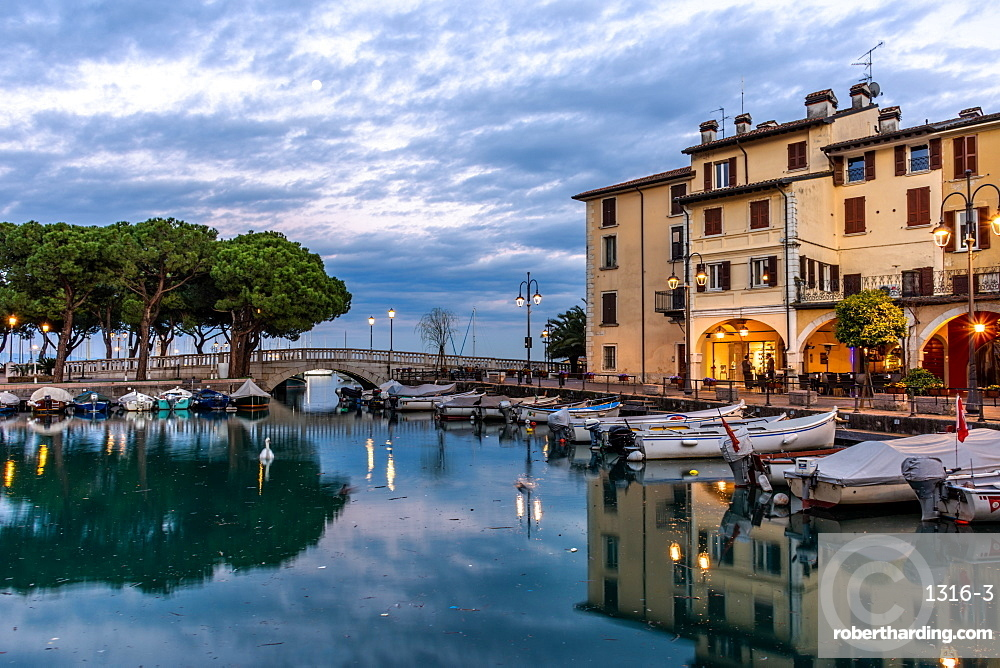 Sunset over marina at Lake Garda in Desenzano, Italy