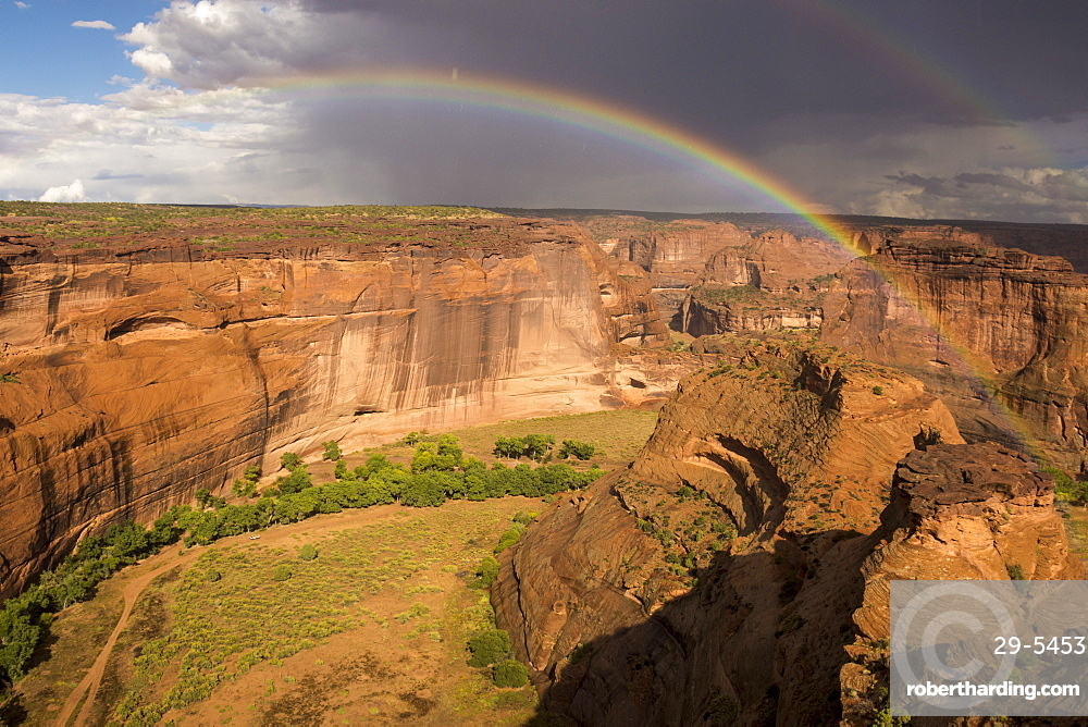 White House Overlook under approaching storm, Canyon de Chelly National Monument, Arizona, United States of America, North America