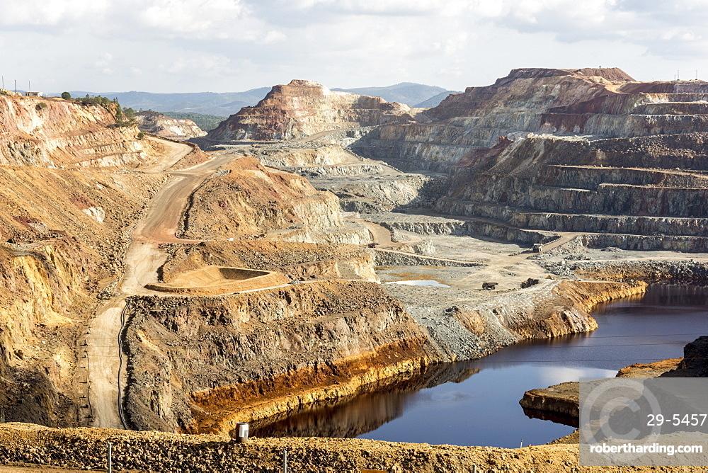 Main open-pit copper-sulphur mine at Rio Tinto, Huelva, Southwest Spain, Europe