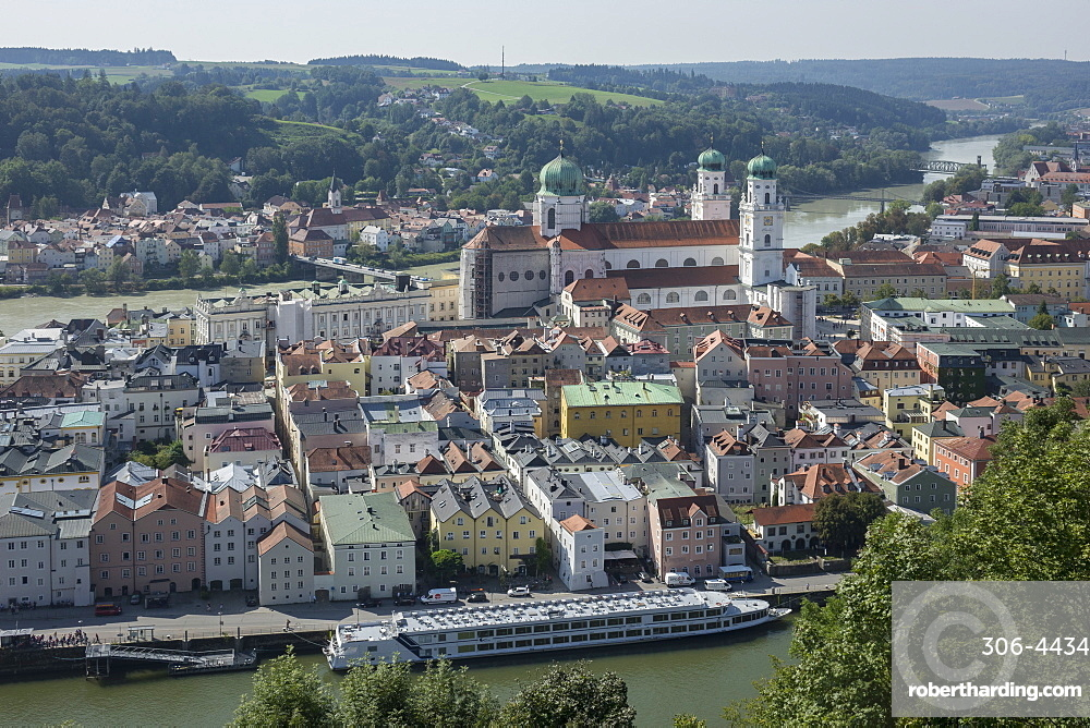 Aerial view of Passau, with River Danube (near) & River Inn (distance), Lower Bavaria, Germany