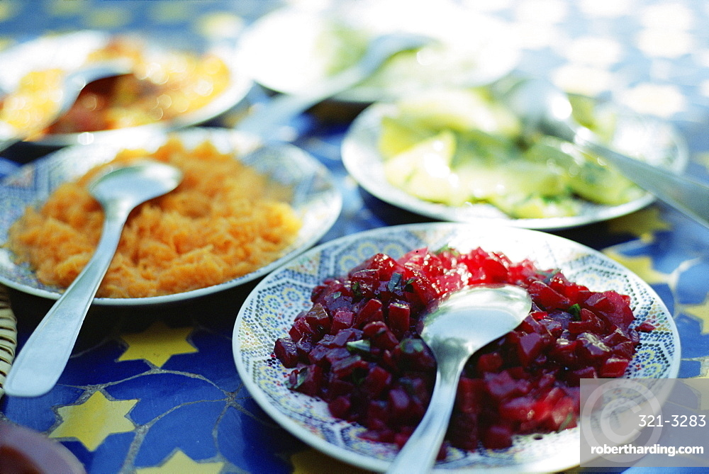 Plates of Moroccan salad, traditional first course in restaurants, Marrakesh (Marrakech), Morocco, North Africa, Africa