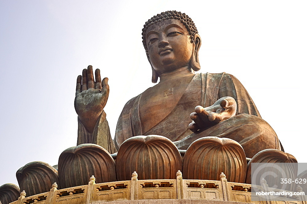 Big Buddha, showing the Buddhist swastika, Po Lin Monastery, Ngong Ping, Lantau Island, Hong Kong, China, Asia