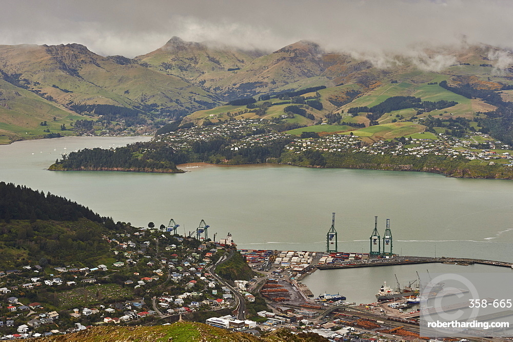View of Lyttelton Harbour from summit of Christchurch Gondola, Heathcote Valley, Christchurch, Canterbury, South Island, New Zealand, Pacific