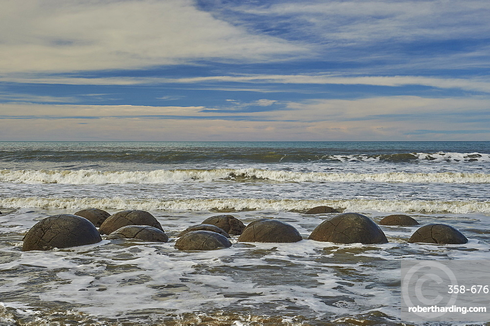 Moeraki Boulders are a group of very large spherical ???stones??? on Koekohe Beach near Moeraki on New Zealand???s Otago coast