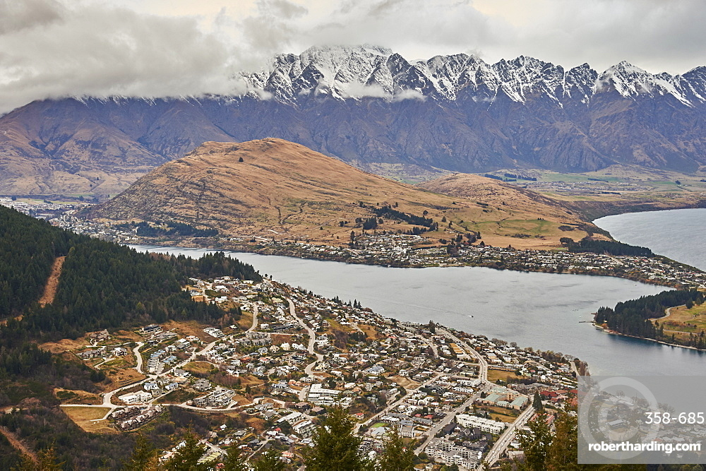View over Queenstown, Lake Wakatipu and The Remarkables from Ben's Peak, Queenstown, Otago, South Island, New Zealand, Pacific