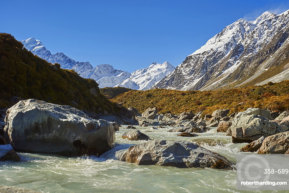 The Hooker River running off Mount Cook (Aoraki) from The Hooker Valley Track, Mount Cook National Park, UNESCO World Heritage Site, Southern Alps, South Island, New Zealand, Pacific
