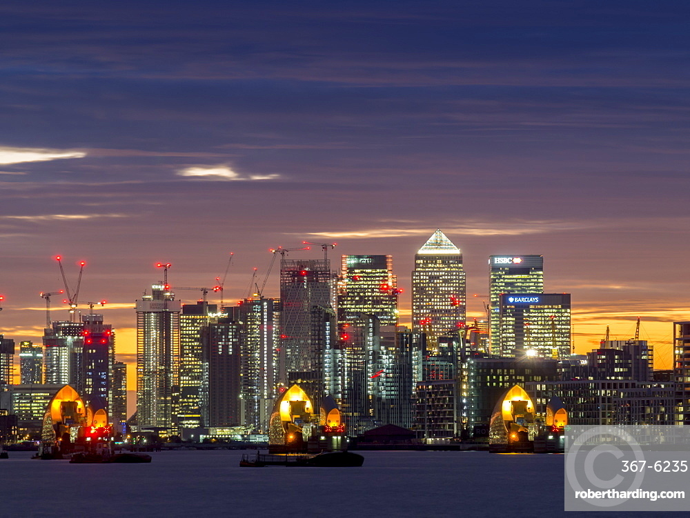 Canary Wharf from Woolwich at sunset