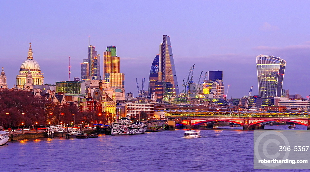 Thames River and the City of London, London, England, United Kingdom, Europe