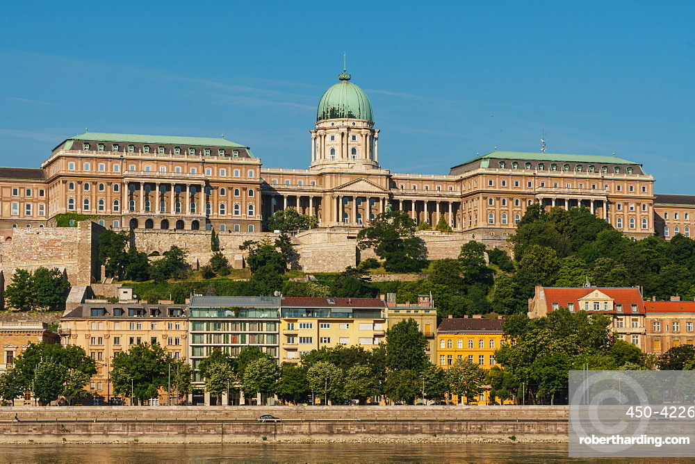 Facade of Royal Palace, UNESCO World Heritage Site, seen across the River Danube, Budapest, Hungary, Europe