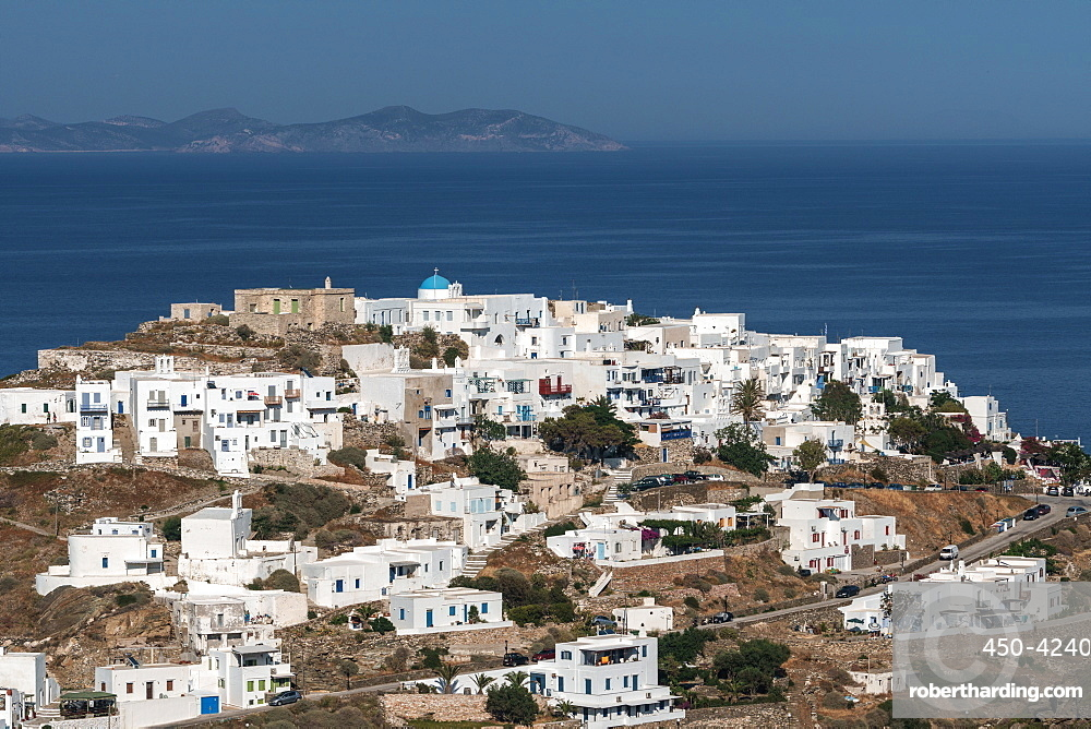 Aerial overview of Kastro Village, with island of Antiparos in background, Sifnos, Cyclades, Greek Islands, Greece, Europe
