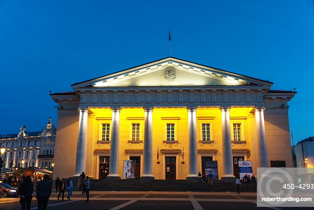 Floodlit neo-classical Town Hall, Old Town (UNESCO Heritage Site), Vilnius, Lithuania