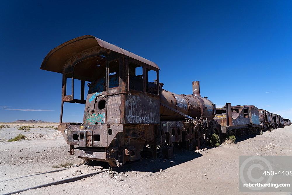 Locomotive graveyard outside Uyuni, Bolivia