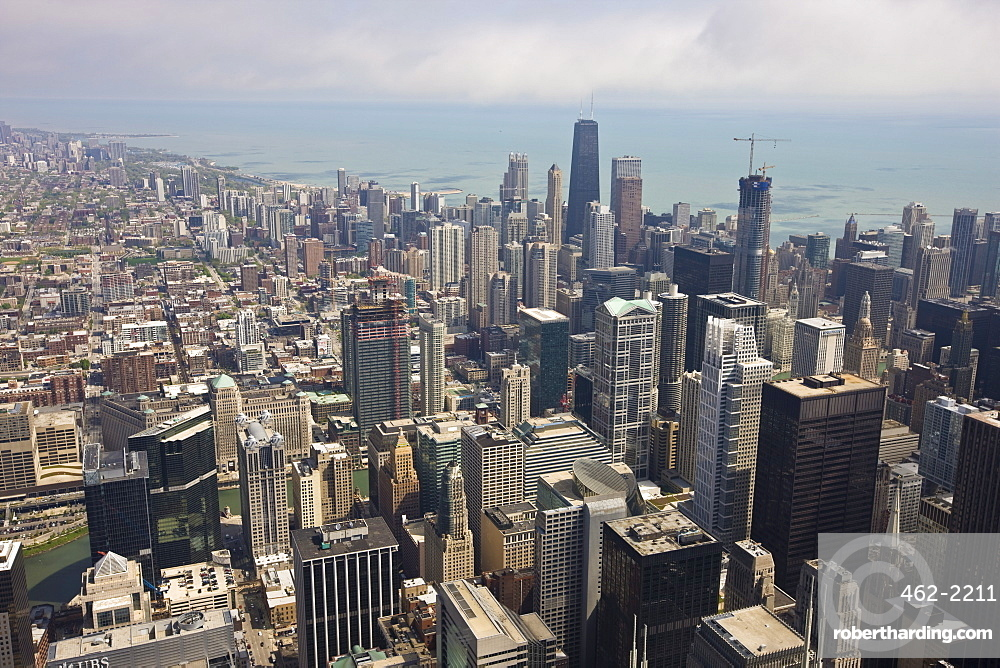 Aerial view of city skyline and Lake Michigan, looking North, Chicago, Illinois, United States of America, North America