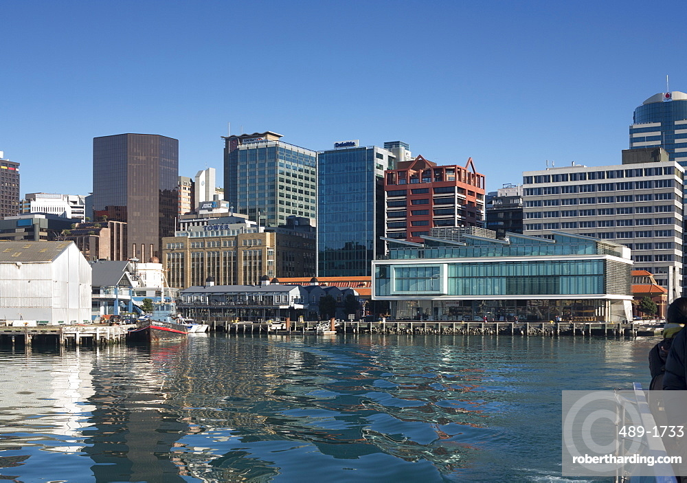 Waterfront and Queens Wharf from the harbour, Wellington, North Island, New Zealand, Pacific