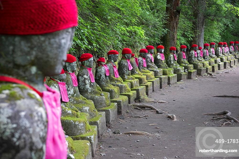 Jizo statues, Kanmangafuchi Abyss, Nikko, Japan, Asia