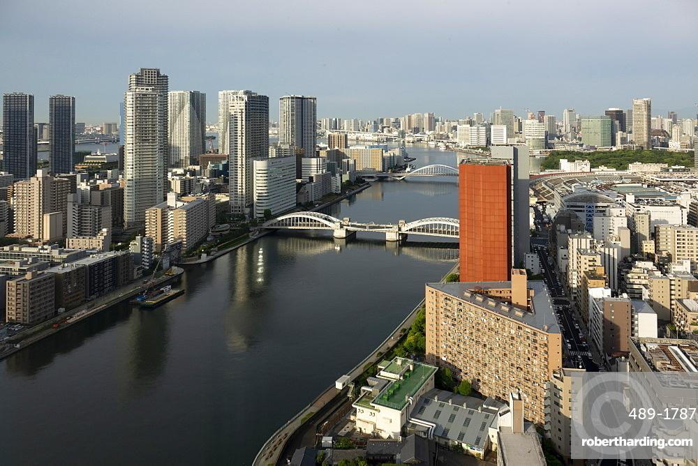 View over Sumida River with Kachidoki and Tsukiji-ohashi Bridges, Tokyo, Japan, Asia