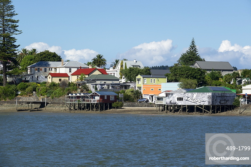 Rawene town from the ferry on the Hokianga, Northland, New Zealand