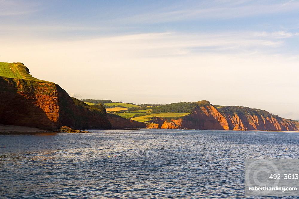 Sandstone cliffs of the Jurassic Coast, UNESCO World Heritage Site, Ladram Bay, Devon, England, United Kingdom, Europe