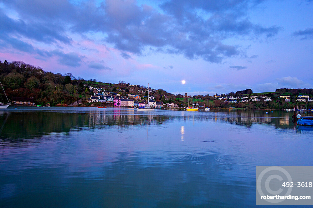 Moon reflected in the River Dart, Dittisham, South Devon, England, United Kingdom, Europe