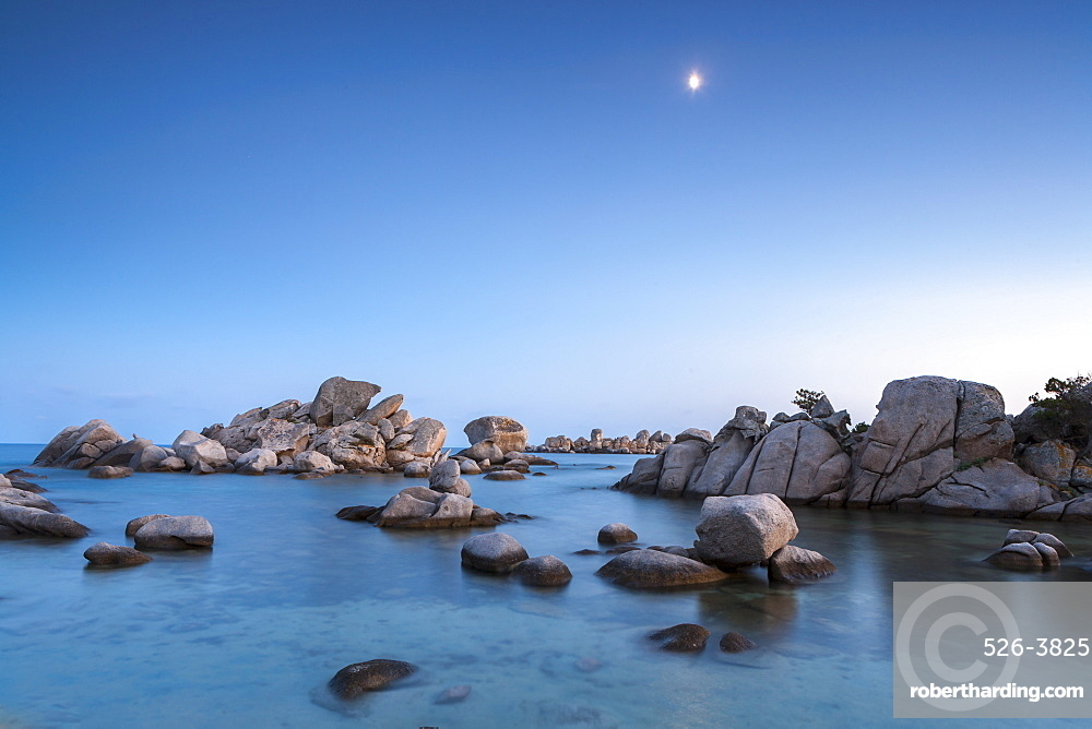Palombaggia beach, rocks and moon