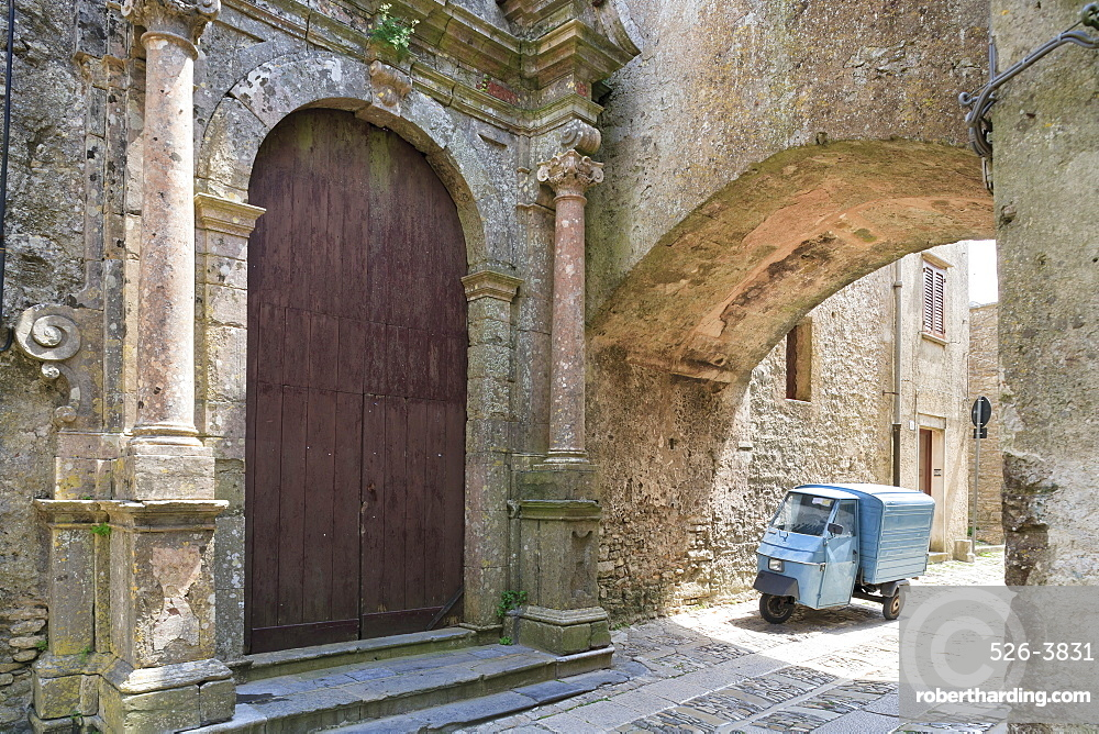 Erice, small truck parked under arch in back street, Sicily, Italy, Europe