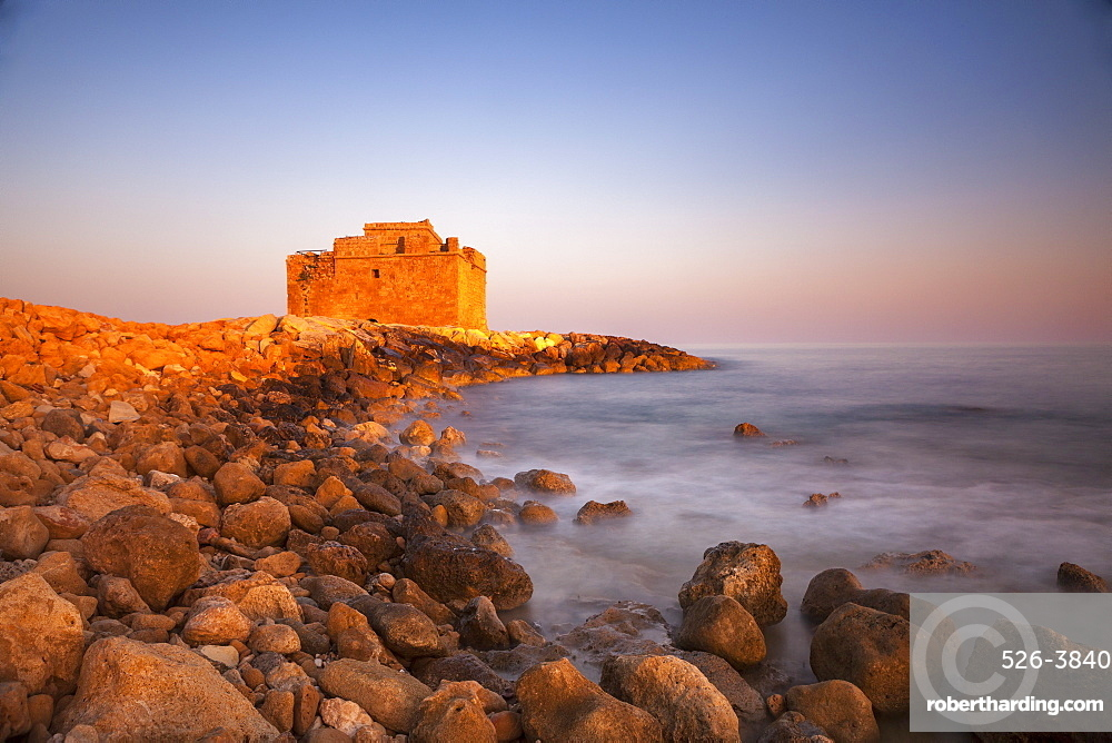 Paphos castle with rocky shoreline, Paphos harbour