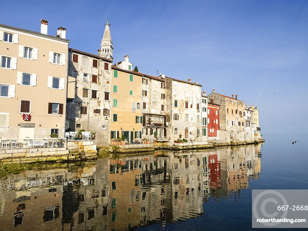 The Old Town with reflections early morning, Rovinj, Istria, Croatia, Europe