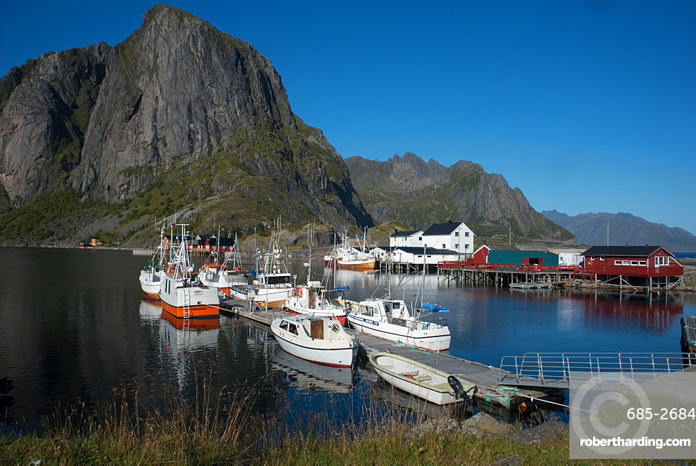 View of Hamnoya Harbour, Lofoten Islands, Nordland, Norway, Scandinavia, Europe