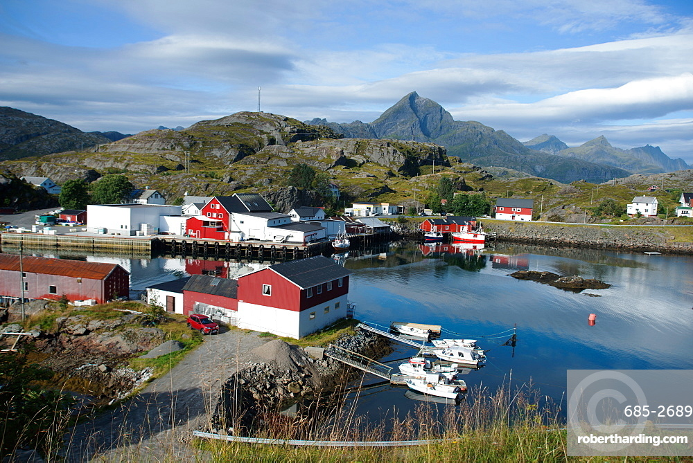 View of Sund Harbour, Lofoten Islands, Nordland, Norway, Scandinavia, Europe