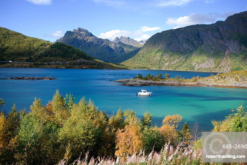 Glacial blue lake, Troms, Norway, Scandinavia, Europe