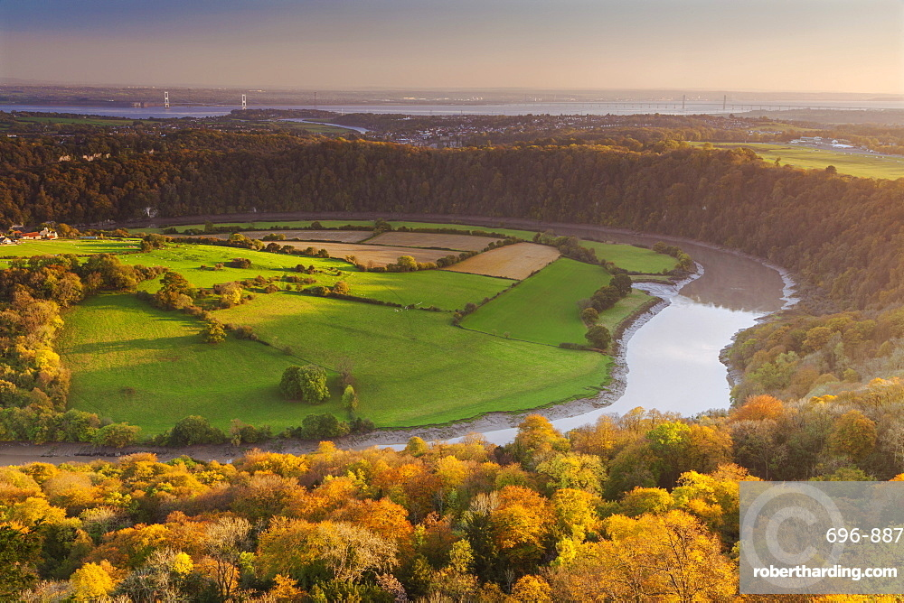 Upper Wyndcliff, River Wye and Severn Estuary, Wye Valley, Monmouthshire, Wales, United Kingdom, Europe