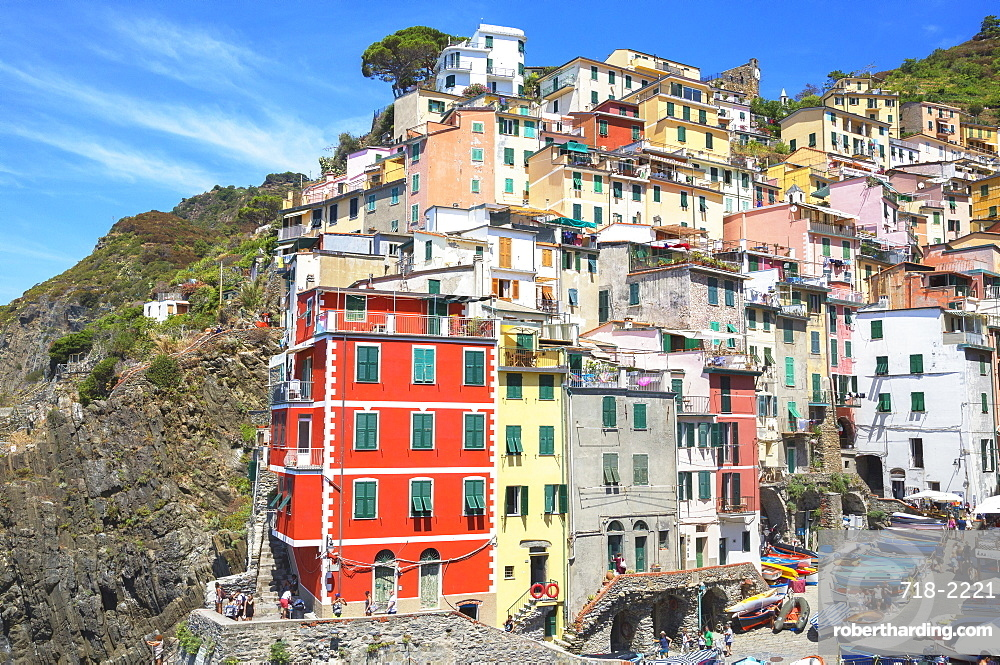 The colorful sea village of Riomaggiore, Cinque Terre, UNESCO World Heritage Site, Liguria, Italy, Europe
