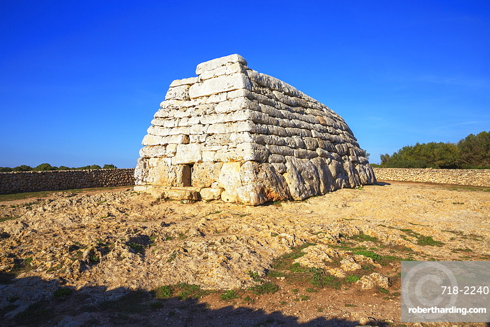 Naveta or megalithic tomb at the site of Es Tudons, Menorca, Balearic Islands, Spain, Mediterranean, Europe