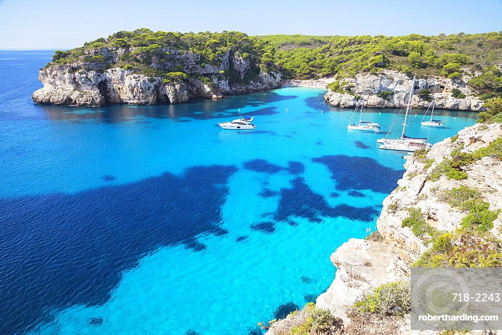 View of Cala Macarelleta and sailboats, Menorca; Balearic Islands; Spain; Europe