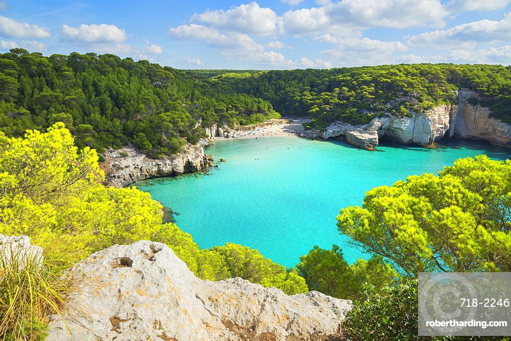 High angle view of Cala Mitjana, Menorca, Balearic Islands, Spain, Mediterranean, Europe
