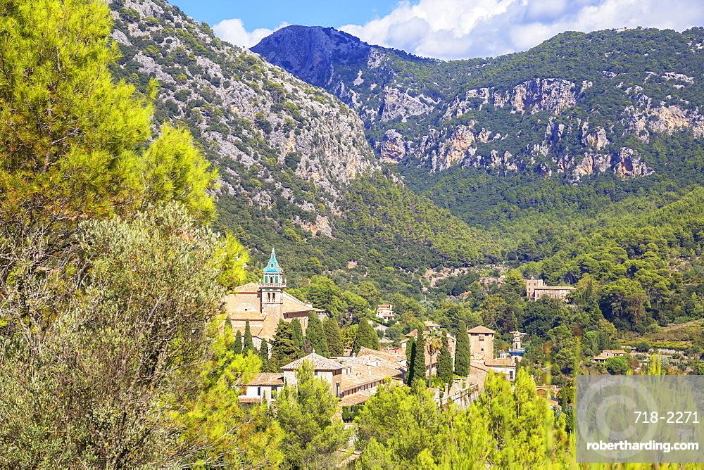 View of Valldemossa village, Valldemossa, Mallorca (Majorca), Balearic Islands, Spain, Europe