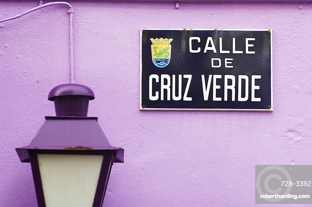 Close-up of a lamp and street sign, Tenerife, Canary Islands, Spain, Atlantic, Europe