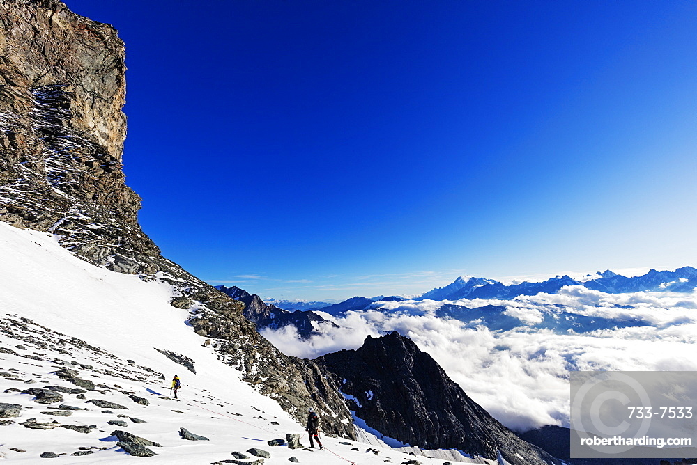 View to Mont Blanc in France from Grand Combin, Valais, Swiss Alps, Switzerland, Europe