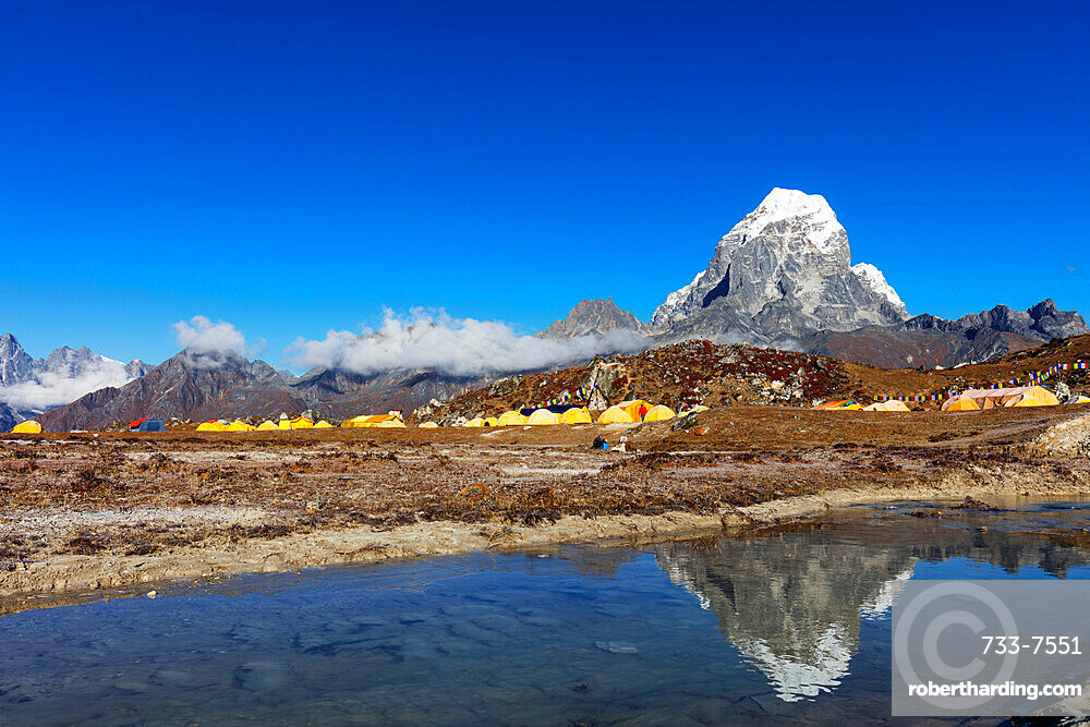 Ama Dablam base camp with Tobuche, 6495m, Sagarmatha National Park, UNESCO World Heritage Site, Khumbu Valley, Nepal, Himalayas, Asia