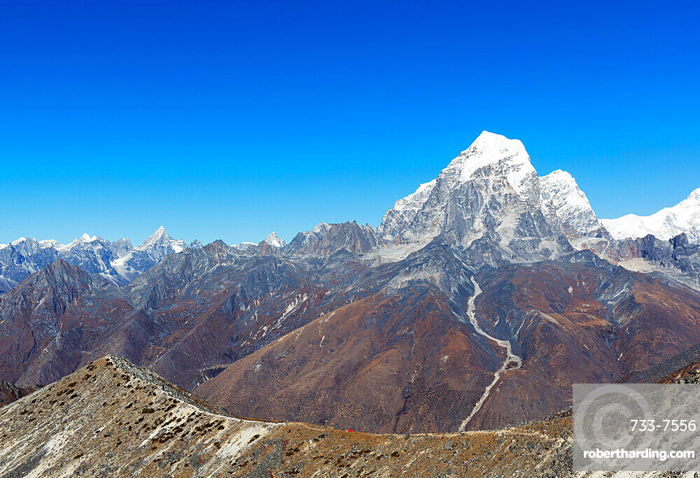 Asia Nepal, Khumbu valley, Sagamartha National Park, Unesco World Heritage site, tent pitched on Ama Dablam with Tobuche (6495m)