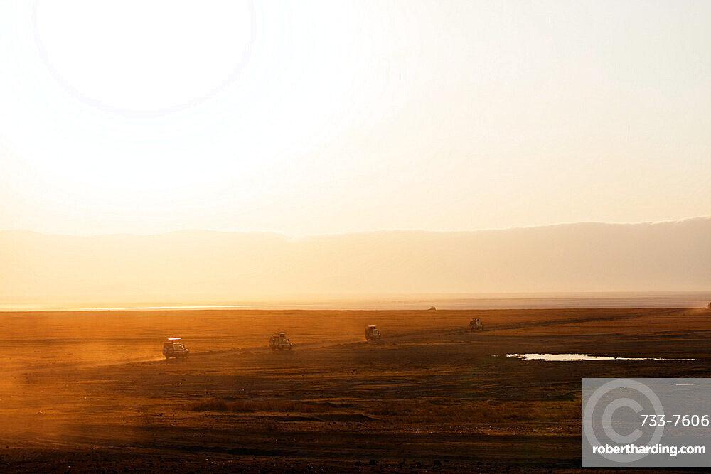 Tourist jeeps on safari at sunrise, Ngorongoro Crater Conservation Area, UNESCO World Heritage Site, Tanzania, East Africa, Africa