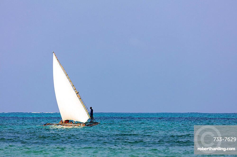 Dhow sailing boat, Paje, Island of Zanzibar, Tanzania, East Africa, Africa