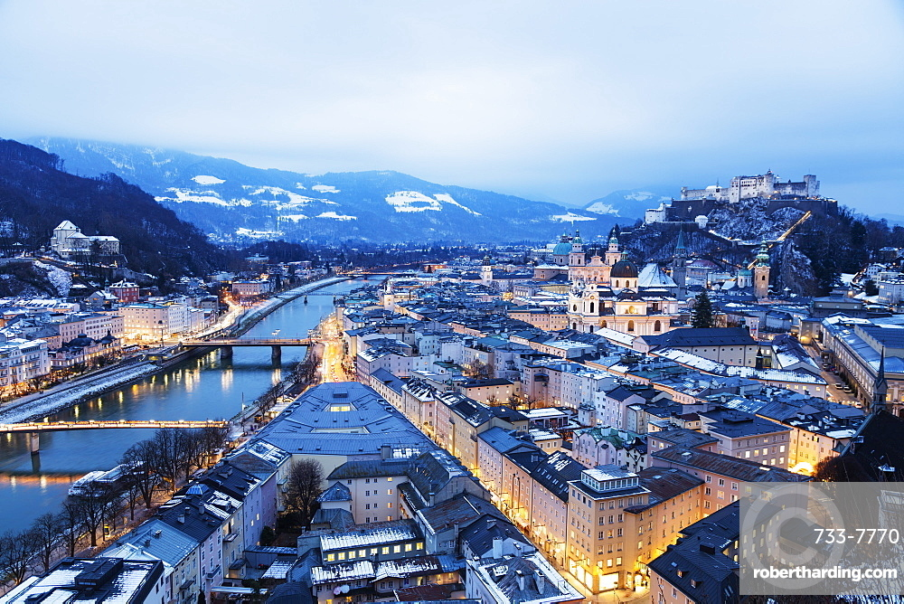 View over the old town, UNESCO World Heritage Site, and Hohensalzburg Castle at dusk, Salzburg, Austria, Europe