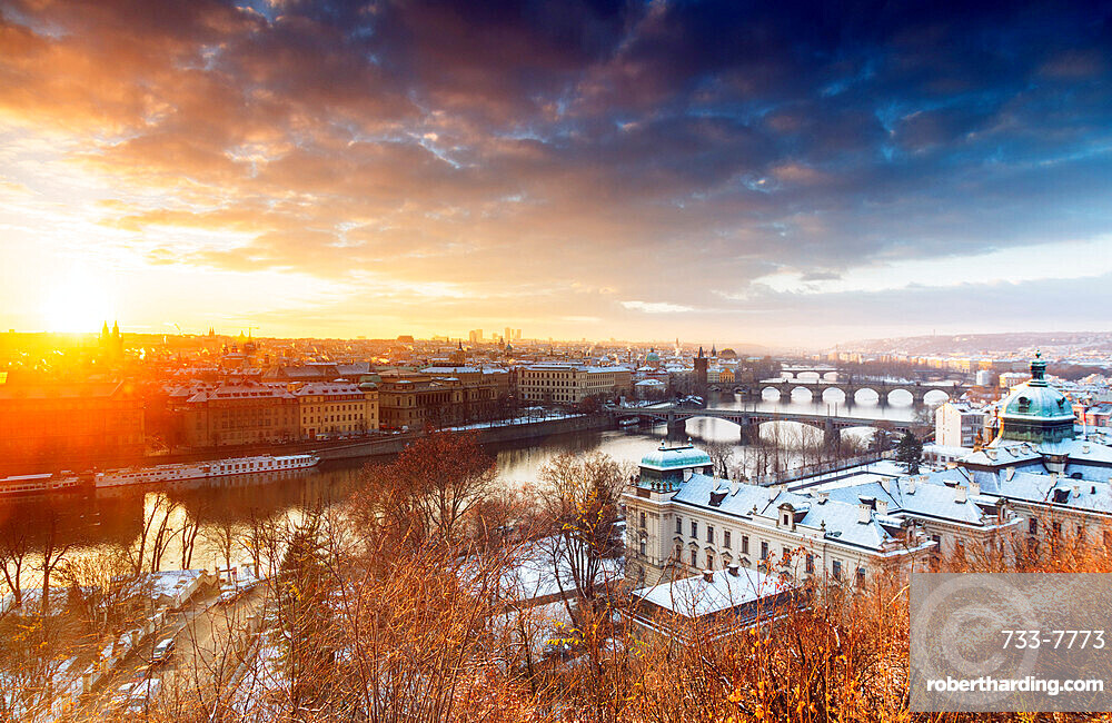 Bridges crossing the Vltava River at sunrise, Prague, Czech Republic, Europe