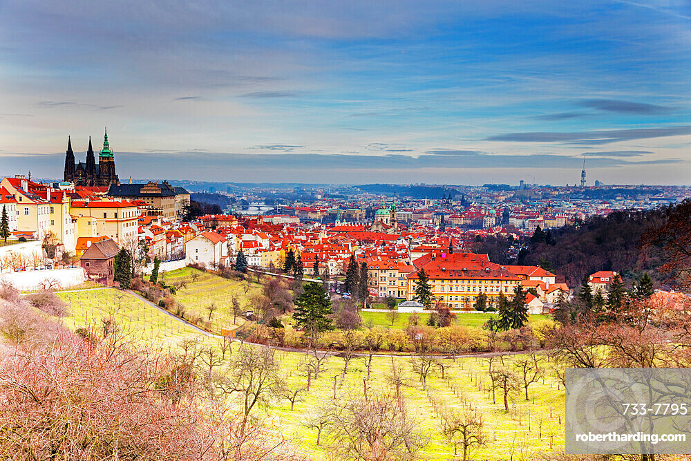 View over Prague and Petrin Gardens, Prague, Czech Republic, Europe