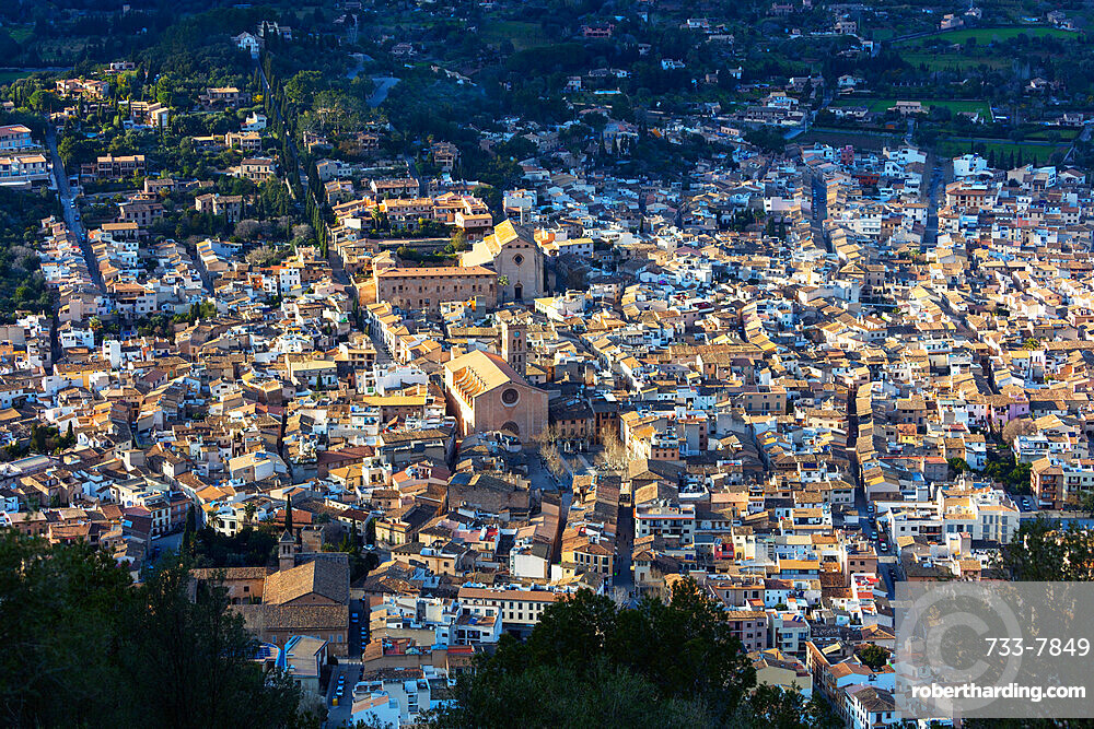 Aerial view of old town and Monti Sion church, Pollenca, Majorca, Balearic Islands, Spain, Mediterranean, Europe