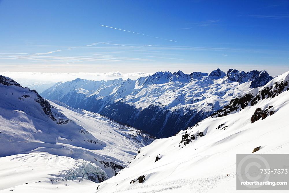 Argentiere Glacier and Aiguilles Rouges, Chamonix, Haute Savoie, Rhone Alpes, French Alps, France, Europe