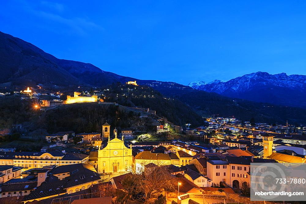 Europe, Switzerland, Ticino, Bellinzona, Unesco site, Castelgrande and La Collegiata church of St Peter and Stephan