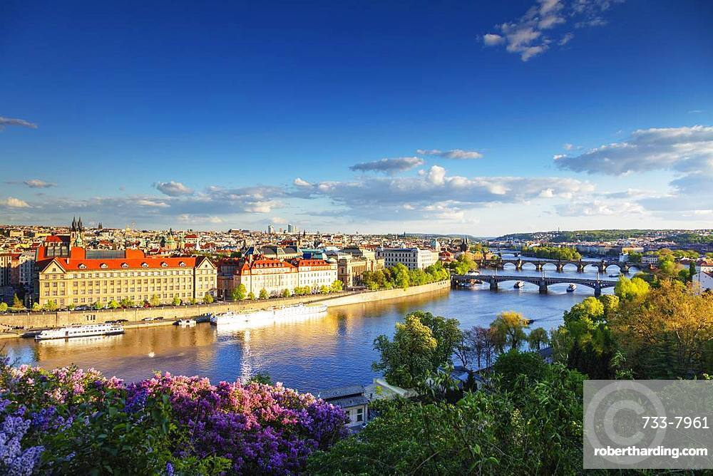 Bridges crossing the Vltava River, Prague, UNESCO World Heritage Site, Bohemia, Czech Republic, Europe